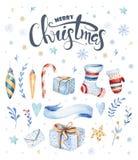 Illustrations-Geschenk collecti des Aquarells Hand gezeichnetes Weihnachtsnettes Lizenzfreies Stockbild