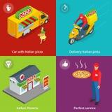 Illustrations-gesetzte Fahnen mit italienischer Pizzeria, mobiler Lebensmittel-LKW, Auto mit italienischer Pizza, perfekter Servi Lizenzfreie Stockfotos