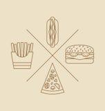 Illustrations-Gestaltungselemente für Logo des Schnellimbisses Lizenzfreies Stockbild