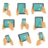 Illustrations of gestures to control different devices tablets and smartphones. Finger gesture touch tablet screen, multitouch collection vector Stock Images