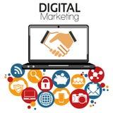 Illustrations-grafisches Vektor-Digital-Marketing Stockbilder