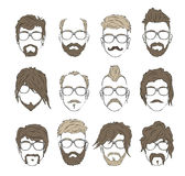 Illustrations hairstyles with a beard and mustache. Wearing glasses. stylish and fashionable Royalty Free Stock Image