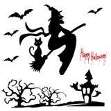 Illustrations-Halloween-Feiertag auf Lager, Hexe auf einem Besen, silhou Lizenzfreie Stockfotos