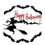 Illustrations-Halloween-Feiertag auf Lager, Hexe auf einem Besen, silhou Stockfoto