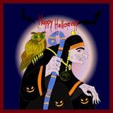 Illustrations-Halloween-Feiertag auf Lager, -hexe, -eule und -nacht Stockbilder