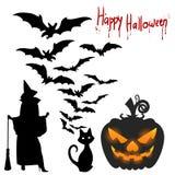 Illustrations-Halloween-Feiertag auf Lager, -schläger, -kürbis und -hexe, Stockfoto