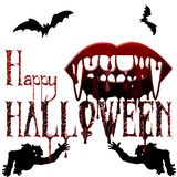 Illustrations-Halloween-Feiertag auf Lager, Vampire, Blut, silhoue Lizenzfreie Stockfotografie