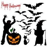 Illustrations-Halloween-Feiertag, -Vampir, -kürbis und -witc auf Lager Lizenzfreies Stockfoto