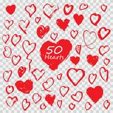 illustrations hand drawn heart Icons set for valentines and wedding Stock Image