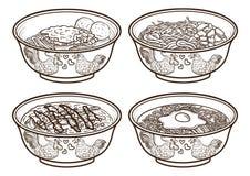 Illustrations handdrawing d'ensemble de nourriture de l'Indonésie Asie illustration de vecteur