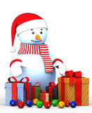 Illustrations happy new year  snowman. 3d Illustrations happy new year  snowman Stock Images