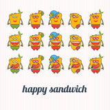 Illustrations happy sandwich Royalty Free Stock Photography