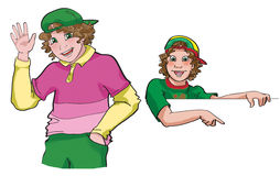 Illustrations of happy teenage boy pointing and waveing Royalty Free Stock Image