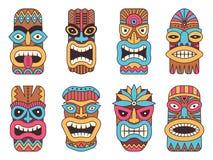 Illustrations of hawaiian tiki god. Tribal totem. Mask, totem tribal colored face vector stock illustration