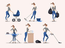 Illustrations of housework Royalty Free Stock Photography