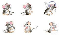 Illustrations humoristiques des émotions sur l'exemple des dessins primitifs drôles des rats et des souris illustration de vecteur