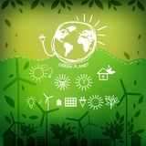 Illustrations with icons of ecology, environment, Royalty Free Stock Photography