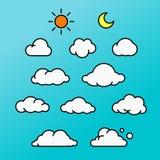 Illustrations-Ikonensatz der Wolke grafischer Stockfotografie