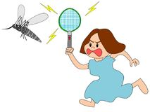 Women who are fighting with mosquitoes. The illustrations illustrate the fight against mosquitoes Stock Photography