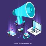 Isometric digital marketing teamwork. Illustrations isometric business concept teamwork analysis digital marketing graph via computer and small people. Vector vector illustration