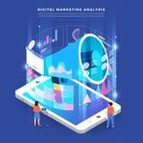Isometric digital marketing teamwork. Illustrations isometric business concept teamwork analysis digital marketing graph via computer and small people. Vector royalty free illustration