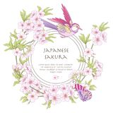 Illustrations with Japanese blossom pink sakura and birds with p Royalty Free Stock Images