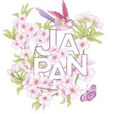 Illustrations with Japanese blossom pink sakura and birds and wo Royalty Free Stock Images