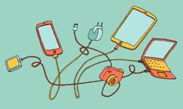 Illustrations-Karikaturhand der elektronischen Geräte gezeichnet Lizenzfreies Stockfoto