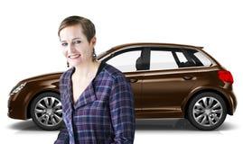 Illustrations-Konzept des Auto-Fahrzeug-Hecktürmodell-Transport-3D Lizenzfreie Stockbilder
