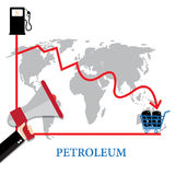 Illustrations-Konzept von Ölpreisen oben, Diagramm-Wachstum - Raster Schablone für Wirtschaftsnachrichten Stockfoto