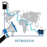 Illustrations-Konzept von Ölpreisen oben, Diagramm-Wachstum - Raster Schablone für Wirtschaftsnachrichten Lizenzfreie Stockbilder