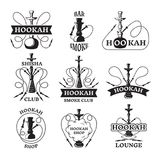 Illustrations and labels set of different hookahs. Lounge smoking. Smoke hookah pipe, lounge arabic relax vector Stock Images