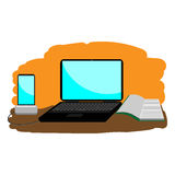 Illustrations laptop, phone, notebook. Working environment Royalty Free Stock Photo