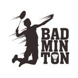 Illustrations libres de joueur de badminton de vecteur avec le fracas sautant illustration stock