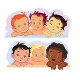 Illustrations little children of different nationalities Royalty Free Stock Photography