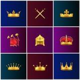 Illustrations médiévales d'attributs d'or royal réglées illustration libre de droits