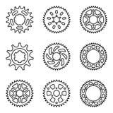 Sprocket wheel icon set. Vector line icon Stock Photos