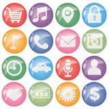 Icon set for mobile application - Round type stock illustration