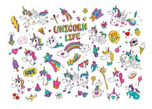 Illustrations of a magical unicorn. Vector. Cartoon horse world with a horn. Cat Mermaid. Kawaii characters. Mythical creatures wi