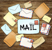 Illustrations of Mails and Communication Concepts.  Royalty Free Stock Photography