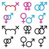 Illustrations of male and female sex symbols. Illustrations of male and female sex symbol in colour and black and white stock illustration
