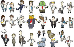 Illustrations of male workers. A set of illustrations of men wearing shirts, suits and ties in a variety of amusing poses isolated on a white background Stock Photos