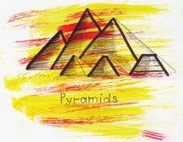 Illustrations-Markstein, der alte ägyptische Pyramiden nahe Kairo im Herzen der libyschen Wüste skizziert Stockfotografie