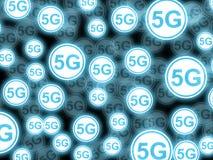 Illustrations-Mehrfachbelichtungshintergrund der Ikonen 5G lizenzfreie stockfotos
