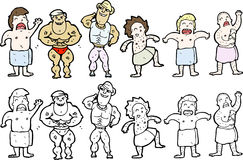 Illustrations of gym guys Royalty Free Stock Photography