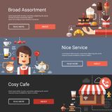 Illustrations of modern flat design coffee-shop Royalty Free Stock Photo