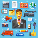 Illustrations modern information technology and news Stock Photography