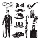 Illustrations monochromes de style victorien pour le club de monsieur Photos de vecteur réglées illustration stock
