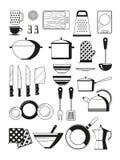 Illustrations monochromes des outils de cuisine Silhoette de vecteur d'ustensile de restaurant Photos libres de droits