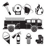 Illustrations monochromes des outils de pompier dans le département de caserne de pompiers illustration libre de droits